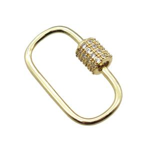copper connector linker paved zircon, gold plated, approx 15-24mm [FN15412]