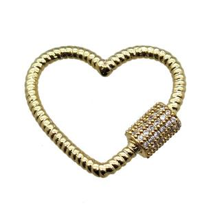 copper heart connector linker paved zircon, gold plated, approx 22mm [FN15417]