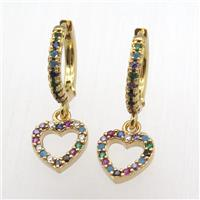 copper hoop earrings pendant pave zircon, heart, gold plated, approx 10mm, 14mm dia [FN12411]