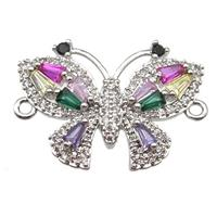 copper butterfly connector pave zircon, platinum plated, approx 15-21mm [FN13173]