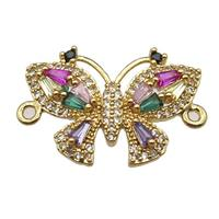 copper butterfly connector pave zircon, gold plated, approx 15-21mm [FN13174]