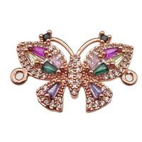 copper butterfly connector pave zircon, rose gold, approx 15-21mm [FN13175]