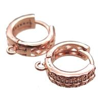copper Hoop Earrings paved zircon, rose gold, approx 14mm dia [FN14836]