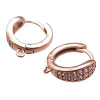 copper Hoop Earrings paved zircon, rose gold, approx 16mm dia [FN14840]