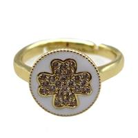 copper Ring pave zircon, enameling, gold plated, approx 12mm, 20mm dia [FN16308]