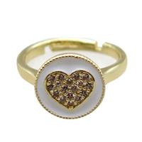copper Ring pave zircon, enameling, gold plated, approx 12mm, 20mm dia [FN16310]