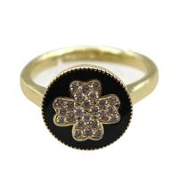 copper Ring pave zircon, enameling, gold plated, approx 12mm, 20mm dia [FN16311]