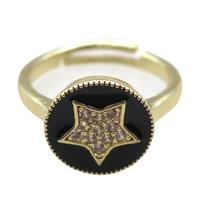 copper Ring pave zircon, enameling, gold plated, approx 12mm, 20mm dia [FN16312]