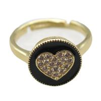 copper Ring pave zircon, enameling, resized, gold plated, approx 12mm, 20mm dia [FN16313]