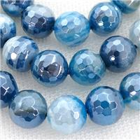 blue striped Agate beads with electroplated, faceted round, approx 12mm dia [GB11161-12MM]