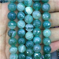 green striped Agate beads with electroplated, faceted round, approx 12mm dia [GB11162-12MM]