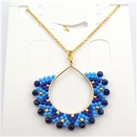 Handcraft seed glass beads Necklace, blue, approx 30-35mm, 40cm long [GM12610]