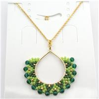 Handcraft seed glass beads Necklace, green, approx 30-35mm, 40cm long [GM12611]