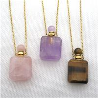 mixed Gemstone perfume bottle Necklace, approx 20-35mm [GM13636]