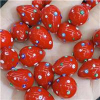 red Pearlized Shell teardrop beads with evil eye, approx 16-21mm [GM14172]