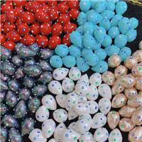 Pearlized Shell teardrop beads with evil eye, mixed color, approx 16-21mm [GM14175]