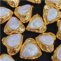 white Pearl beads, triangle, gold plated, approx 30mm [GM14177]