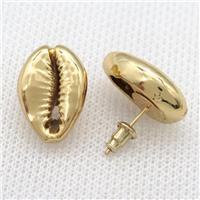 Conch Shell stud Earrings, gold plated, approx 15-20mm [GMER677]