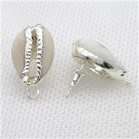 Conch Shell stud Earrings, silver plated, approx 15-20mm [GMER678]