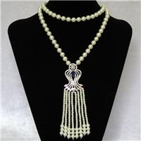 white Pearlized Glass Necklace with copper pendant pave zircon, round, approx 8mm, 28-50mm, 74cm long [GMLB4316]