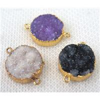 mixed druzy quartz connector, flat round, gold plated, approx 16mm dia [GMPDA6635]