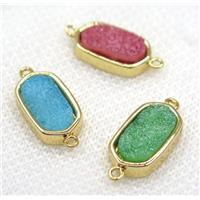 druzy Quartz connector, mix color, oval, gold plated, approx 10-16mm [GMPDA7886]