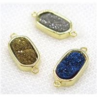druzy Quartz connector, mix color, oval, gold plated, approx 10-16mm [GMPDA7893]